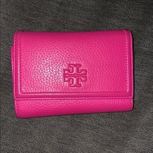 Tory Burch Hot Pink Tri-fold Quilted Wallet
